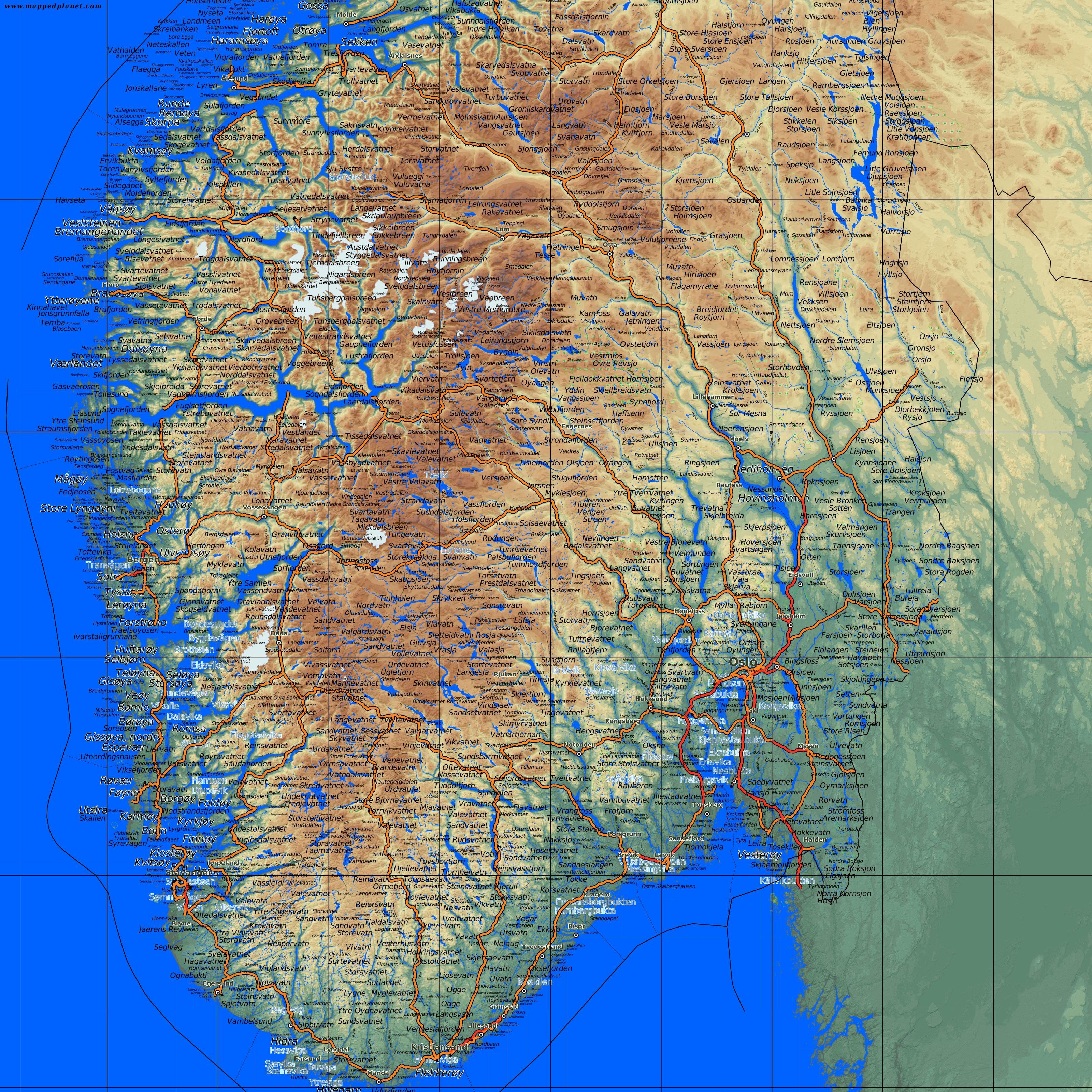 Detaljert kart over sør norge