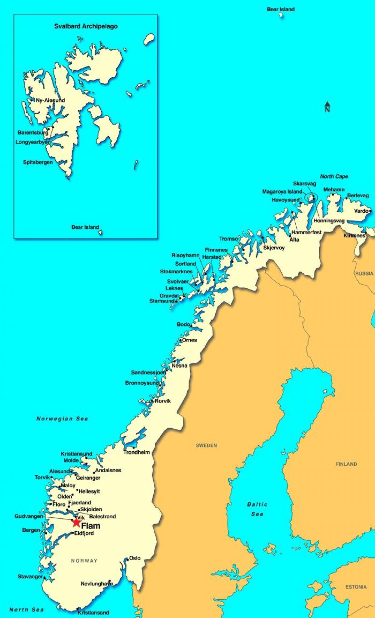 Flam Norge Kart Flam Kart Norge Nord Europa Europa