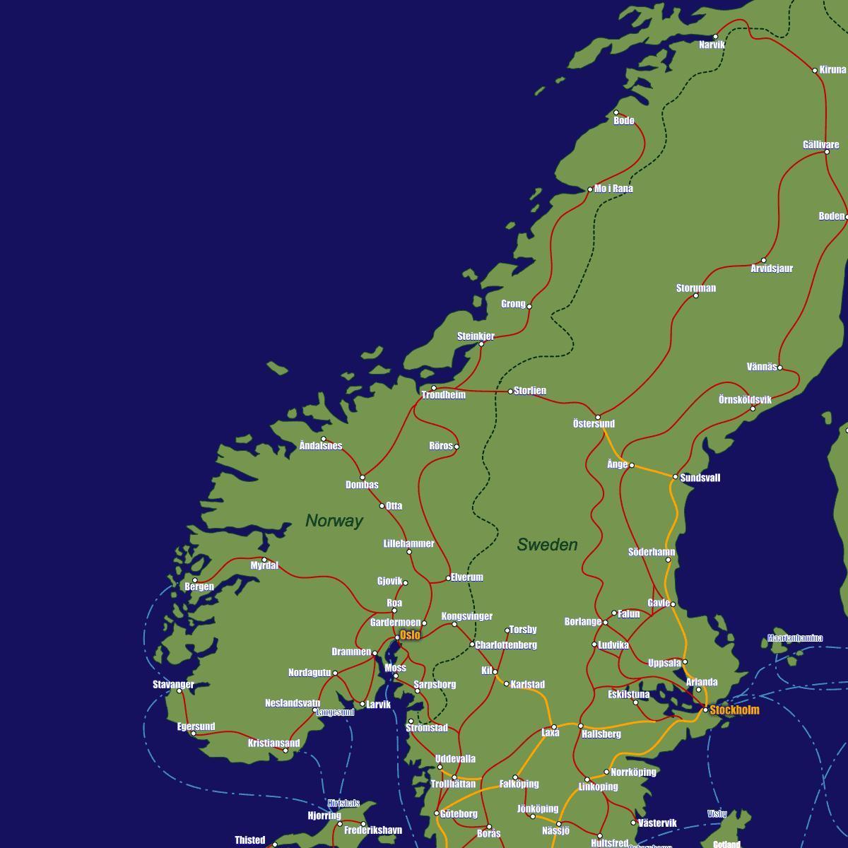 Kart Over Norge Tog Ruter Kart Over Norge Tog Ruter Northern